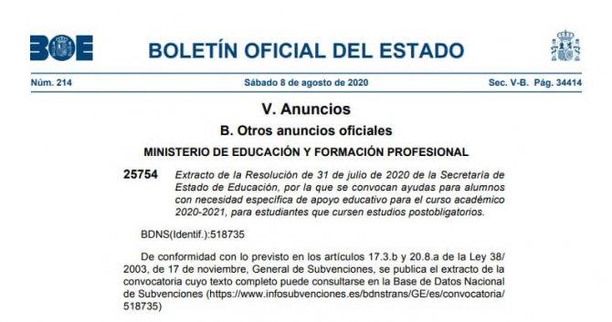 Becas 2020 2021 Educación