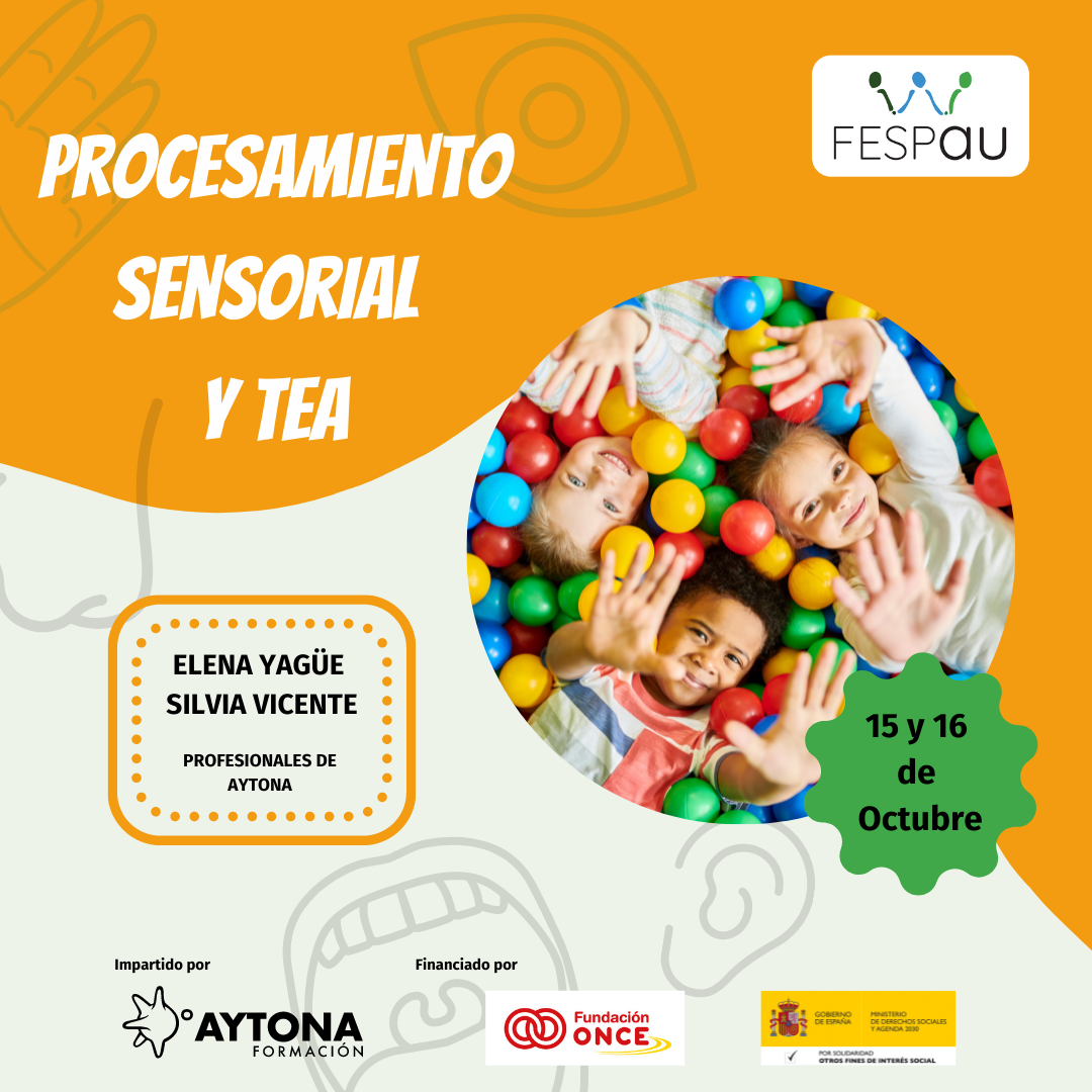Cartel de formación sobre Procesamiento sensorial y TEA